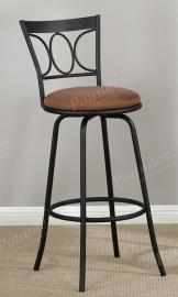 Poundex F1483 Swivel Bar Stool Set of 2 Metal With Microfiber Cushion