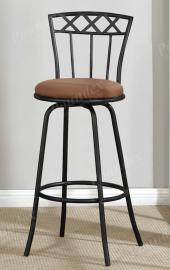 Poundex F1484 Swivel Bar Stool Set of 2 Metal With Microfiber Cushion