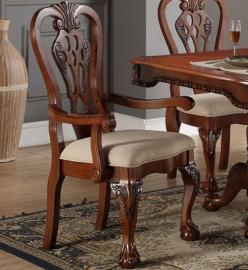 Poundex F1488 Traditional Cherry Finish Dining Arm Chair Set of 2
