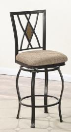 Poundex F1489 Swivel Bar Stool Set of 2 Metal / Faux Suede Fabric Cushion