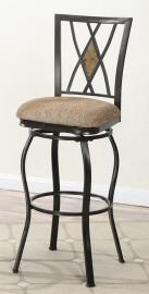 Poundex F1490 Swivel Bar Stool Set of 2 Metal / Faux Suede Fabric Cushion