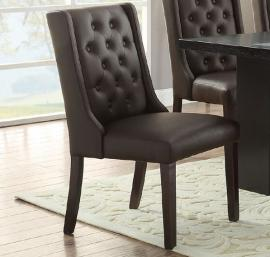 Poundex F1501 Espresso Faux Leather Dining Chair Set of 2