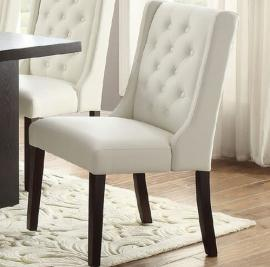 Poundex F1503 White Faux Leather Dining Chair Set of 2