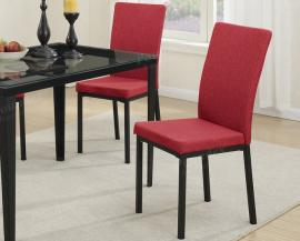 Poundex F1538 Red Fabric Modern Dining Chair Set of 2