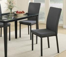 Poundex F1539 Blue Gray Fabric Dining Chair Set of 2
