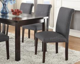 Poundex F1543 Blue Grey Fabric Dining Chair Set of 2