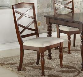 "Poundex F1544 Cherry ""X"" Back Dining Chair Set of 2"