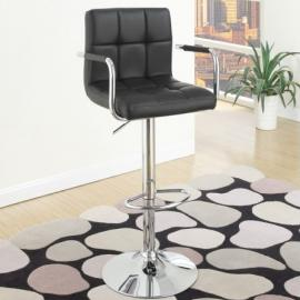Poundex F1557 Black Contemporary Bar Height Chair Set of 2