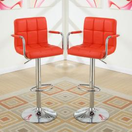Poundex F1558 Red Contemporary Bar Height Chair Set of 2