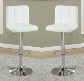 Poundex F1566 White Contemporary Bar Height Chair Set of 2