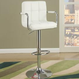Poundex F1567 White Contemporary Bar Height Chair Set of 2