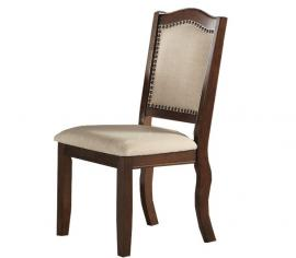 Poundex F1569 Mahogany Faux Leather Dining Chair Set of 2