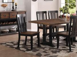 Poundex F1571 Distressed Wood and Dark Brown Dining Chair Set of 2