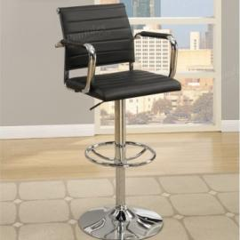 Poundex F1575 Black Contemporary Bar Height Chair Set of 2