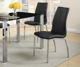Poundex F1578 Black Faux Leather Metal Frame with Chrome Dining Chair Set of 2