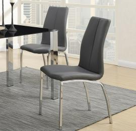 Poundex F1579 Grey Faux Leather Metal Frame with Chrome Dining Chair Set of 2