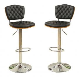 Poundex F1580 Black Contemporary Bar Height Chair Set of 2