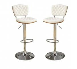 Poundex F1581 White Contemporary Bar Height Chair Set of 2
