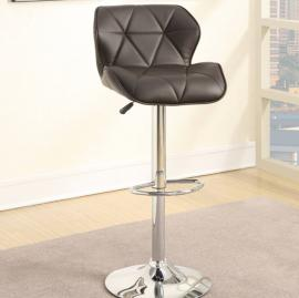 Poundex F1587 Brown Contemporary Bar Height Chair Set of 2