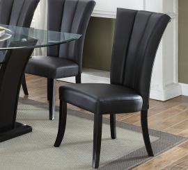Poundex F1591 Black Faux Leather Dining Chair Set of 2