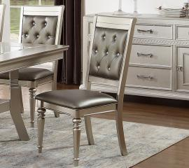 Poundex F1705 Silver Finish with Black Leatherette Dining Chair Set of 2