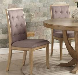 Poundex F1725 Natural Wood Dining Chair Set of 2