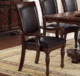 Poundex F1730 Traditional Cherry Finish Dining Arm Chair Set of 2