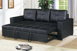 Black Faux Leather Convertible Sofa by Poundex F6530