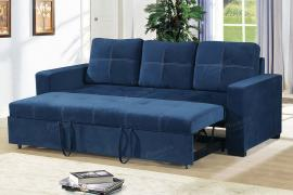 Navy Polyfiber Convertible Sofa by Poundex F6531
