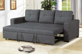 Blue Grey Polyfiber Convertible Sofa by Poundex F6532