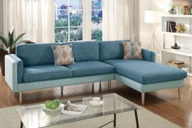 Creed F6552 Dual Tone Blue/Aqua Reversible Sectional