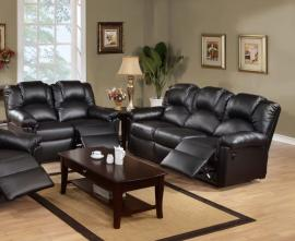 Adonis Collection F6672 Black Reclining Sofa & Loveseat Set