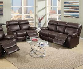 Ivy Collection F6720 Espresso Reclining Sofa & Loveseat Set