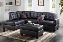 Elsinore F6855 Espresso Reversible Sectional With Ottoman