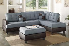 Milpas F6858 Grey Reversible Sectional With Ottoman