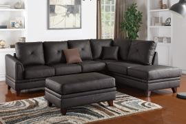 Brown Top Grain Leather Sectional by Poundex F6874