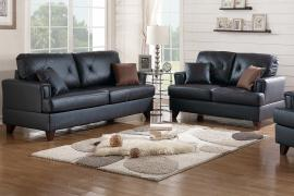 Black Top Grain Leather 2 Piece Sofa and Loveseat Set by Poundex F6876