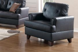 Black Top Grain Leather Chair by Poundex F6877