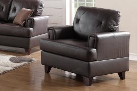 Brown Top Grain Leather Chair by Poundex F6879