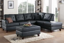 Black Top Grain Leather Sectional by Poundex F6880