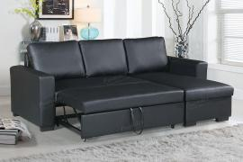 Black Faux Leather Convertible Sectional by Poundex F6890