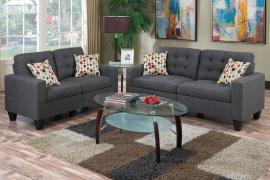 Cairo F6901 Blue Grey Linen-Like Fabric Sofa and Loveseat Set