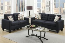 Cozad F6903 Black Linen-Like Fabric Sofa and Loveseat Set