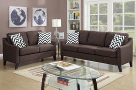 Katara F6907 Chocolate Curved Up Armrests Sofa and Loveseat