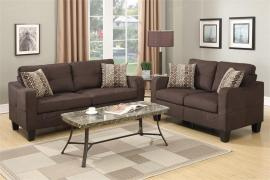 Aurora F6923 Chocolate Linen-Like Fabric Sofa and Loveseat