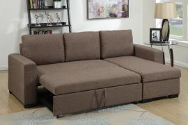 Light Coffee Fabric Convertible Sectional by Poundex F6932