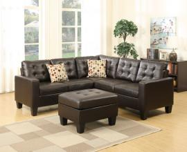 Gypsy F6934 Espresso Bonded Leather Reversible Sectional with Ottoman