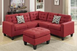 Coachella F6936 Carmine Sectional with Included Ottoman