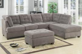 Willcox F7139 Charcoal Waffle Suede Sectional