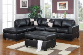 Jean F7355 Black Reversible Sectional and Ottoman